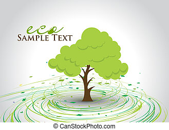 hand draw green tree on eco background with space of text, illustration