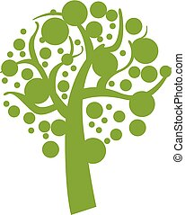 Green eco tree icon, simple style