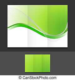 green eco trifold template illustration design over a grey ...