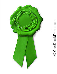 Green eco warranty seal with ribbon, isolated on white...