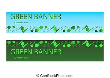 Green ecological banner with green elements