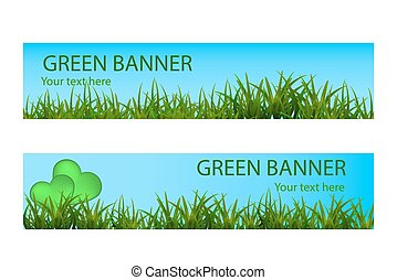 Green ecological banner with green grass and blue sky
