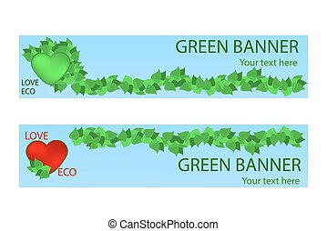 Green ecological banner with green leaves and hart