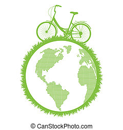 Green ecological bicycle driving planet vector background
