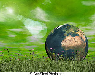 Green ecological earth concept - 3D render