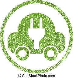 Green ecological electric car sign with hand drawn lines texture