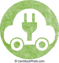Green ecological electric car sign with pixel print halftone dot