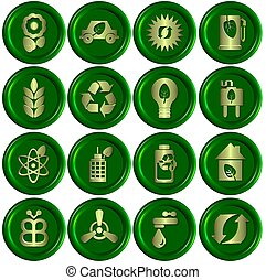 Green ecological icons