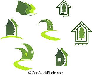 Green ecological symbols