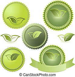 Green ecological vector tags isolated on white background.