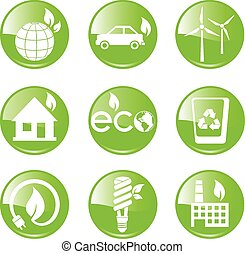 Green, Ecology and environment icon