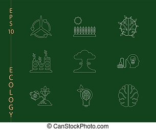 Green, Ecology and environment icon set in vector format. 9 icons in thin line sets