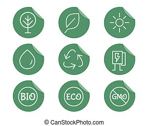 Green, Ecology and environmental protection outline icon...