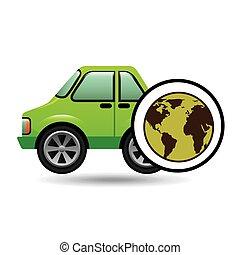 green ecology car concept world