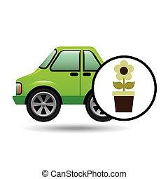 green ecology car flower concept