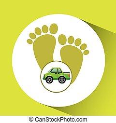 green ecology car footprint concept