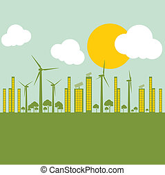 Green ecology city illustration against pollution concept background vector