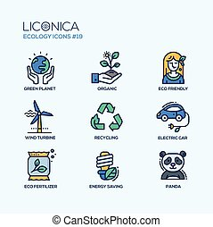 Green Ecology - coloured modern single line icons set -...