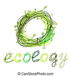 Green ecology concept, hand drawn design