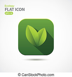 Green ecology icon in flat design