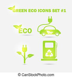 Green ecology icons set. Vector
