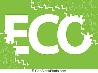 Green ecology jigsaw puzzle vector background