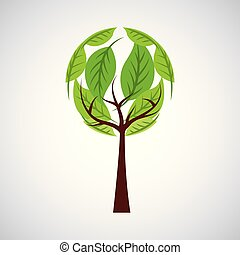 green ecology round tree environment symbol