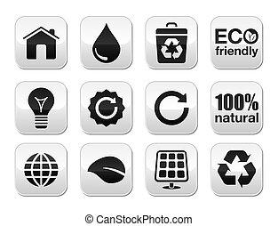 Green ecology vector buttons set