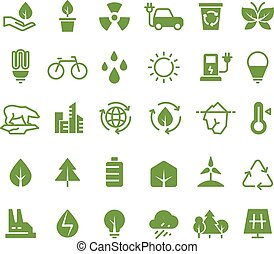 Green ecology vector icons. Clean environment, recycling process and renewable energy pictograms