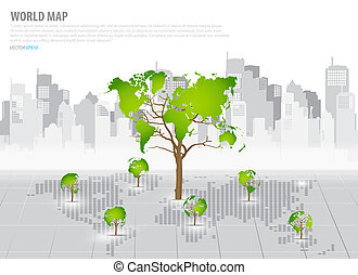 Green economy concept : Tree shaped world map with building ...