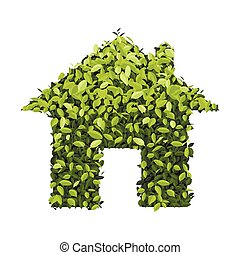 Green economy house icon, isolated on white background, Vector illustration