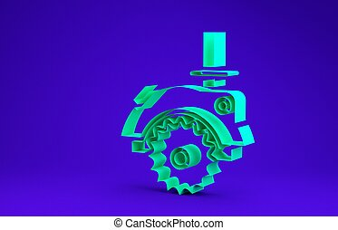 Green Electric circular saw with steel toothed disc icon isolated on blue background. Electric hand tool for cutting wood or metal. Minimalism concept. 3d illustration 3D render