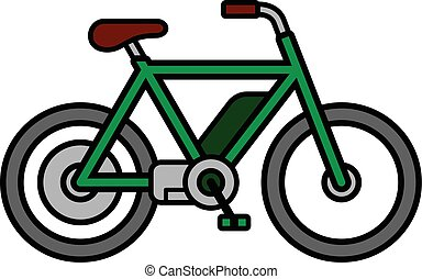 Green electric e-bike bicycle white background - Single...