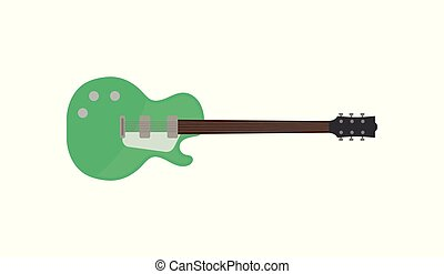 Green electric guitar, rock music instrument vector Illustration on a white background