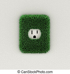 Environmental concept of an electrical outlet with grass leaves
