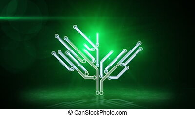 green electronic hi-tech tree loop - green electronic...