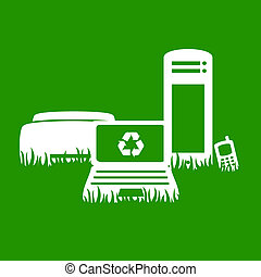 illustration of electronics on grass with recycling concept