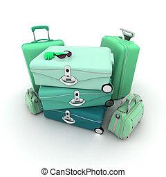Green elegant luggage