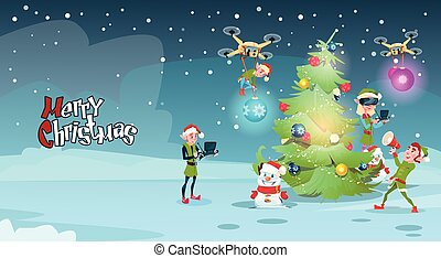 Green Elf Group Decoration Christmas Tree With Drone Wear Virtual Reality Glasses New Year Greeting Card