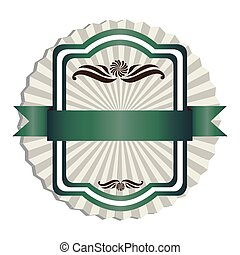 green emblem with ribbon decoration icon