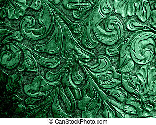 Green Embossed Leather