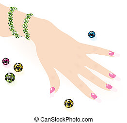green emerald bracelet on woman hand, vector