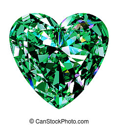 Green Emerald Heart On White Background. 3D Illustration.