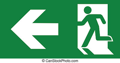 Green emergency exit sign on white