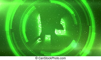 Green Emirati dirham currency symbol on space background with circles. Seamless loop.