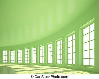 Hall - Green Empty Hall with Windows