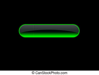 green empty neon button, black back ground