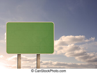 Green empty road sign