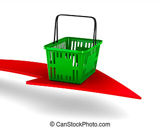 Green empty shopping basket and arrow on white background. Isolated 3d illustration