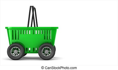 Green empty shopping basket with wheels on white background....